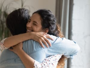 couple embracing appreciating one another in a happy marriage